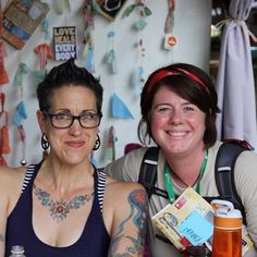 Karen Slappey 15T (right) poses for a photo with Nadia Bolz-Weber, one of the many speakers at this year's Wild Goose Festival. Bolz-Weber is founding pastor of All Sinners and Saints, an ELCA mission church in Denver, CO. #wildgoose13