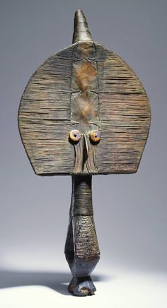 Reliquary guardian figure (late century) by Hongwe artist, Gabon. Wood, copper alloy, bone, 23 x x in. via Princeton University Art Museum African Life, Afrique Art, Art Tribal, African Sculptures, Art Premier, Statues, Art Sculpture, African Masks, Ancient Artifacts