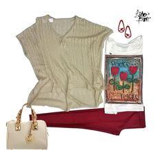 sweater irreg de hilo + remeron recto con tulipanes + calza con brillo vermellon