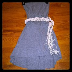 HangTen Strapless hi low dress with cute belt Worn once, excellent Condition.  Hang ten brand.  Grey color hang ten Dresses High Low