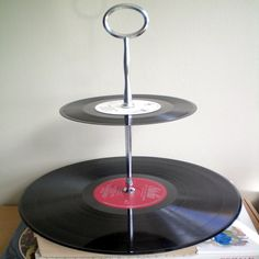 Recycled Vinyl Record Cake Stand   by Cissyface