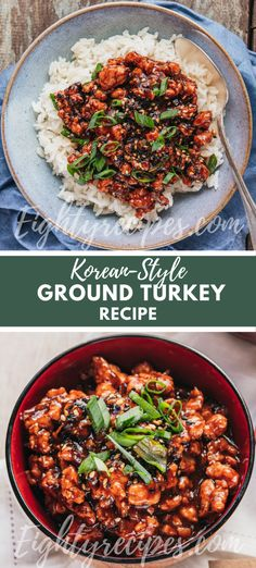 Ground Turkey Recipe; If you love recipes with ground turkey, this one is for you! It's a Korean-style ground turkey recipe for weekdays dinner or lunch, even in a lunchbox. Easy Dinner Recipes, Easy Recipes, Dinner Ideas, Easy Meals, Healthy Recipes, Healthy Family Meals, Family Recipes, Creamy Pasta Bake, Skinny Points