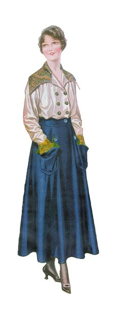 Antique Images: Free Vintage Fashion Graphic: 1915 Women's Skirt and Blouse Fashion Long Blue Skirt