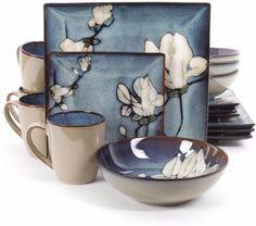 Bloomsbury Blue Flower Stoneware 16-Piece Dinnerware Set Dining Room Decor #dinnerware