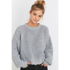 BDG Waffle Knitted Fisherman Jumper (82 AUD) ❤ liked on Polyvore featuring tops, sweaters, grey, long sleeve crop sweater, crewneck sweater, gray crop top, cropped sweater and gray crew neck sweater