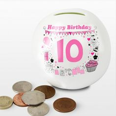 Personalised Happy Birthday Money Box - For Girls from Personalised Gifts Shop - ONLY Birthday Money, Birthday Gifts, Happy Birthday, Party Icon, Personalized Gifts For Her, Visa Gift Card, Box Branding, Pink Parties, Money Box