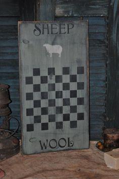 Ex Lg Sage Green Wood Sign Sheep Wool Game Board Country Primitive Folk Art #NaivePrimitive