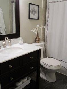 freckles chic: Freckles Chick - Costco espresso bathroom vanity with marble countertop gray slat tiles ...