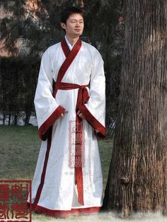 Men's White Straight hem robe Shang Dynasty Hanfu Clothing - USD $ 235.00