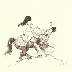 "2,711 Likes, 8 Comments - Frazetta Girls, LLC (@frazettagirls) on Instagram: ""#FrankFrazetta ""Indian with Nude"" Pen and Ink •c1970s•…"""