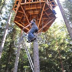 An Ingenious Bicycle-Powered Treehouse Elevator Lifts a Rider 30 Feet in Seconds