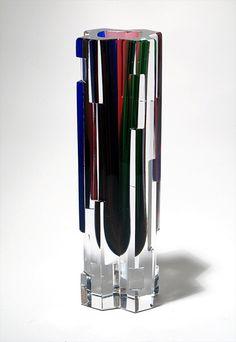 Helena Tynell for Riihimäen Lasi Finnland, Revontulet 1959 Glass Vessel, Glass Ceramic, Vintage Vases, Retro Vintage, Glass Design, Design Art, Northen Lights, Glas Art, Art File