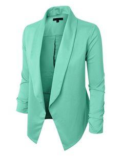 RubyK Womens Lightweight Open Front Draped Tuxedo Blazer Jacket Obchodní  Oblečení 7cf03cb61d