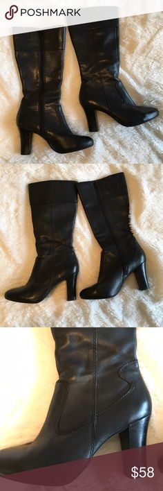 """🆕 {a.n.a} Round Toe Chunk Heel Knee High Boots Super hot and in great preloved condition! {a.n.a} black round toe, chunky heeled knee high boots. Interior side zip closure. Genuine leather upper. Size 7.5. TTS. Small, light scuff or two as shown, barely noticeable. Heel 3.5"""",  shaft (from heel) 15.75"""", circumference 14"""". ❌NO TRADES ❌NO LOWBALLING❌ a.n.a Shoes Ankle Boots & Booties"""