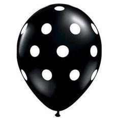 """11"""" Polka Dot Balloon, White Dots on Black"""
