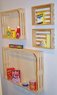 use melissa & doug crates as shelves in playroom
