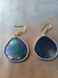 Sasha Sterling Mother of Pearl Gold with Pave Trim. The swirl of color goes with EVERYTHING! $98