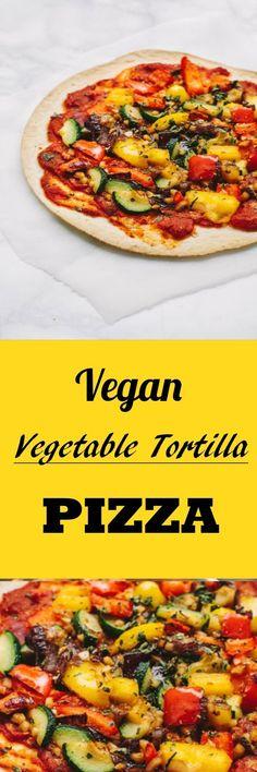 Easy vegan lunch of Vegetable Tortilla Pizzas. Great for vegan family dinner or a quick vegan lunch. #vegan #veganrecipe
