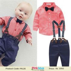 cb93e85af340 Boys Party Wear Dress Red Check Shirt with Bowtie and Suspender Pant Set