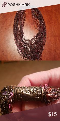 Ribbon scarf Shimmering strands of ribbon with pinks, auburns and yellows. Never worn. Accessories Scarves & Wraps