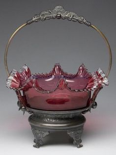 VICTORIAN CASED-CRANBERRY BRIDE'S BASKET.