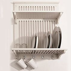 NOVEL - Piatto da cucina, Scodella, Tazza Display / parete scaffale - Bianco: Amazon.it: Casa e cucina