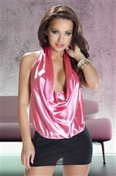 Lovely halter neck chemise in black lace with sheer red tulle side panels and side splits.