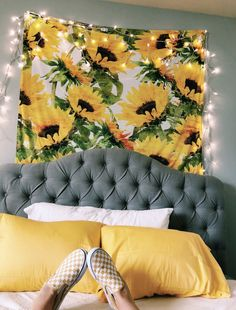 Picture it: a bedroom with a floor bed, white bedding, this tapestry behind it, the yellow pillows, and plants everywhere! Bedroom Ideas, Dorm Ideas