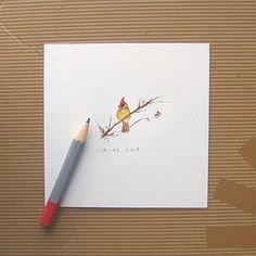 Northern Cardinals Woodland Watercolor   Tiny Art Print by mallalu