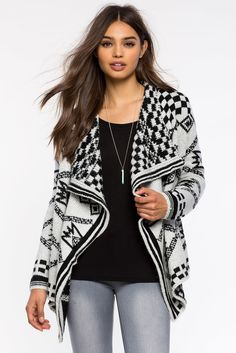 Cozy Layer Printed Cardigan