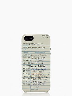 Kate Spade iphone case with library card motif, I want one.