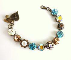 NEW siggy Austrian crystal tennis bracelet topaz by SiggyJewelry, $69.50