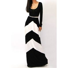 Sexy U-Neck Long Sleeve Low Cut Geometric Color Block Stripe Women's Maxi Dress, WHITE AND BLACK, L in Maxi Dresses | DressLily.com