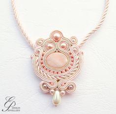 soutache jewelry | Powder pink soutache necklace soutache jewelry by EditBeadIt