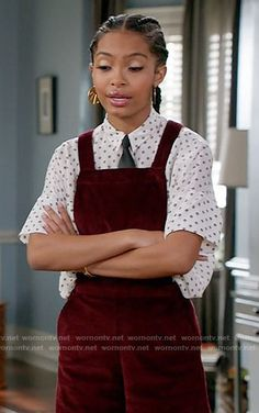 Zoey's red corduroy overalls on Black-ish.  Outfit Details: https://wornontv.net/65698/ #Blackish