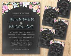 Chalkboard Wedding Invitation  Floral Wedding by NoaOfirDesign