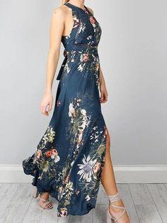 Sexy Open Back Vintage Floral Print Maxi Dress
