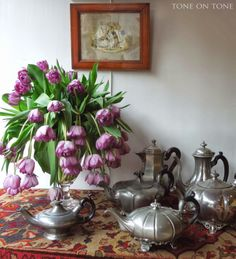 Antique English teapots via Tone on Tone: Paris: Les Puces, Personalities and Pooches