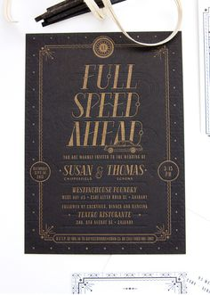 Susan + Thomas's, Art Deco inspired stationery suite - One Plus One Design #blindemboss #gold