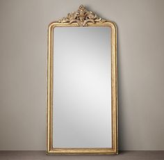 RH's Louis Philippe Gilt Leaner Mirror:With a curved silhouette, delicate beadwork and scrolling acanthus leaves, our mirror's hand-carved frame reflects the elegance of French design. Restoration Hardware Mirror, Gold Floor Mirror, Foyer Mirror, Antique Floor Mirror, Wall Mirrors, Restauration Hardware, Modern Cabin Decor, Trumeau, Leaner Mirror