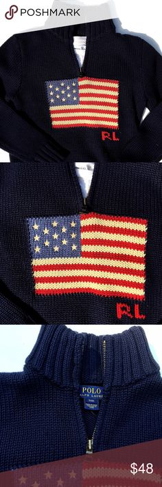 """NWT KIDS Ralph Lauren American flag zip sweater Can you say serious back to school style?! This true American  prepster classic is  seasonless 100% cotton NWT! mock neck and three-quarter zip for easy on and off ( zipper appox 6.5""""). True navy blue color. Appox Measurements: Size S (8) armpit x armpit 14.5 x 19"""". Size M (10) armpit x armpit 16"""" length 21"""". *White tee shirt in picture not included just used to highlight neck features. Polo by Ralph Lauren Shirts & Tops Sweaters"""