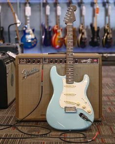 It's an all-rosewood kinda #straturday.  . @fender Limited Edition American Pro Stratocaster in Daphne Blue  (link in bio) . #guitarcenter #gc #fender #strat #stratocaster #guitar #guitarist #blue #daphneblue #rosewood #americanpro #vibroverb #amp #geartalk #guitargear #music #love #beautiful