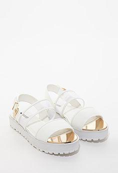 Mesh-Strap Flatform Sandals $27.90 forever 21