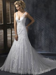 A-Line Tulle V-Neck Wedding Dress