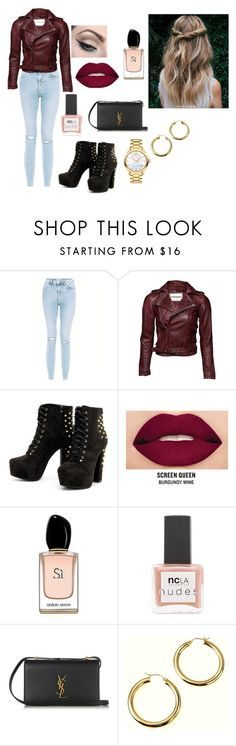 """""""Untitled #379"""" by aevanika14412 ❤ liked on Polyvore featuring New Look, Mehron, Smashbox, Armani Beauty, ncLA, Yves Saint Laurent and Movado"""
