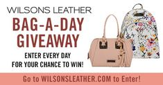 Wilsons Leather is giving away one handbag each day now thru April 22, 2018! Enter each day for your chance to win. Receive bonus entries when someone you refer enters! #giveaway #contest #sweepstakes
