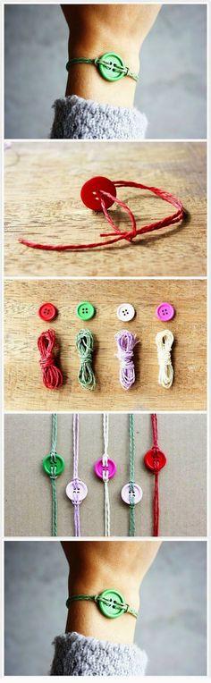Renkli Düğmelerden Bileklik Yapımı