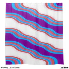 Wavy Shower Curtain  Available on many more designs! Type in the name of this design in the search bar on my Zazzle Products page!  #wavy #wave #home #decor #bed #bath #decorate #bathroom #bedroom #buy #sale #zazzle #forsale #line #purple #red #blue #abstract #abstraction #stripes #ripple #cool #chic #contemporary #modern #style #life #style #college #dorm #apartment #shower #curtain