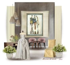 """""""Fashion Houses"""" by lenadecor ❤ liked on Polyvore featuring interior, interiors, interior design, home, home decor, interior decorating, York Wallcoverings, Misha, Designers Guild and John-Richard"""