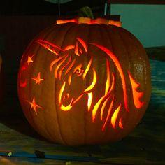 Unicorn pumpkin carving